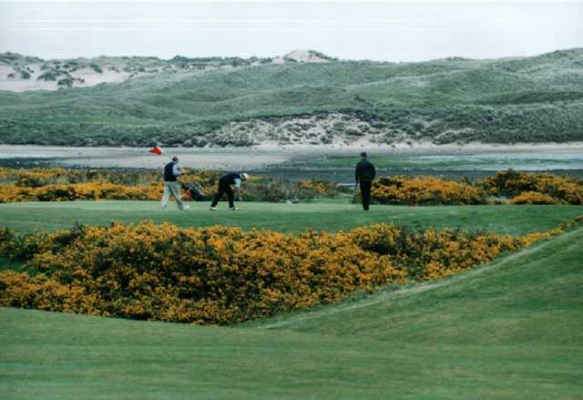 A view of a green protected by flowers at Newburgh-on-Ythan Golf Club