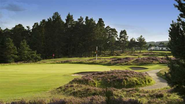 A sunny day view of a hole with a narrow path on the right side at Grantown-on-Spey Golf Club