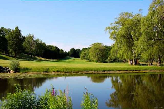A view over the water of a fairway at Putnam County Golf Course