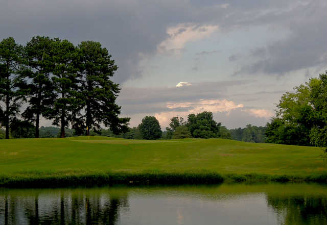 A view over the water of green #4 at Orgill Golf Course