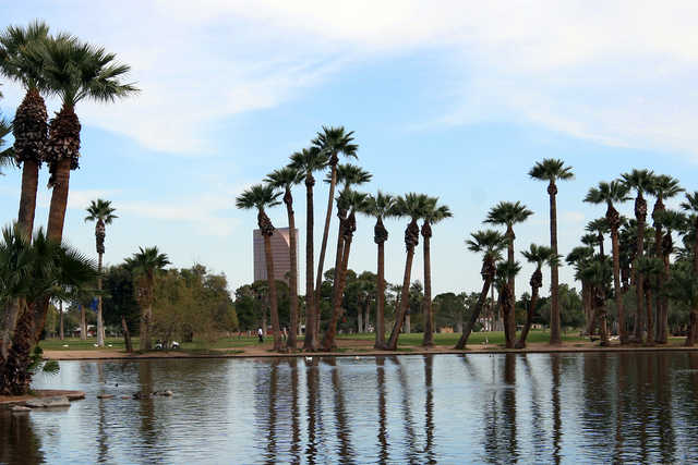 View from Encanto Golf Course Lagoon