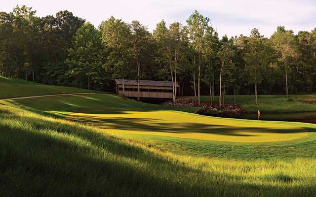 A view of the 14th green at Crossings Course from Magnolia Grove Golf Club