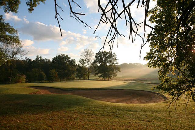 A view of the 13th green at Oak Meadow Country Club