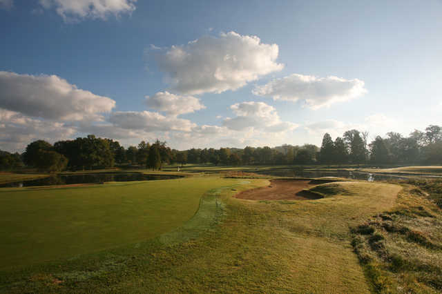 A view of the 17th hole at Oak Meadow Country Club