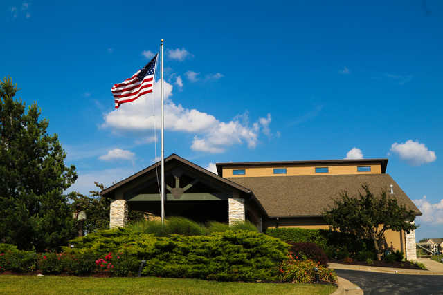 A view of the clubhouse at Falcon Lakes Golf Course