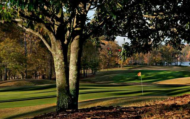 A view of hole #18 at Lakes from Grand National Golf Course