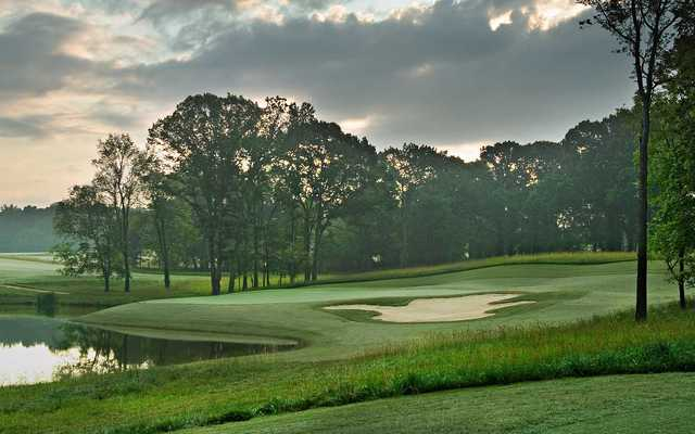 A view of green #10 at Schoolmaster Course from Shoals Golf Club