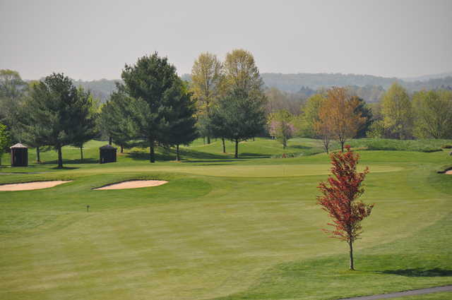 A view of hole #17 protected by sand traps at Clustered Spires Golf Course