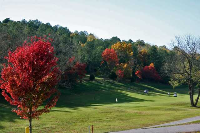 A fall view over a narrow path at Scotsdale Course from Bella Vista Country Club (Jake Greeling)
