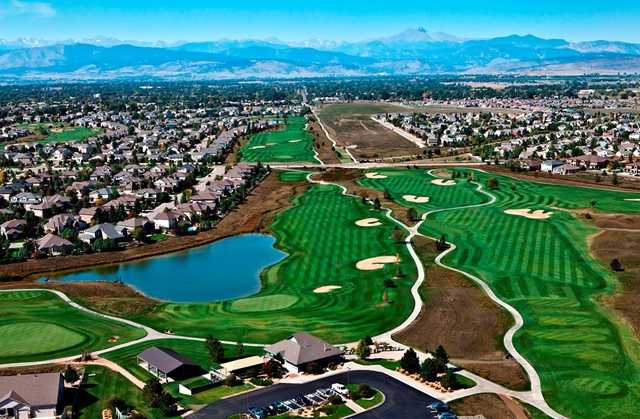Aerial view of hole #18 at Ute Creek Golf Course.