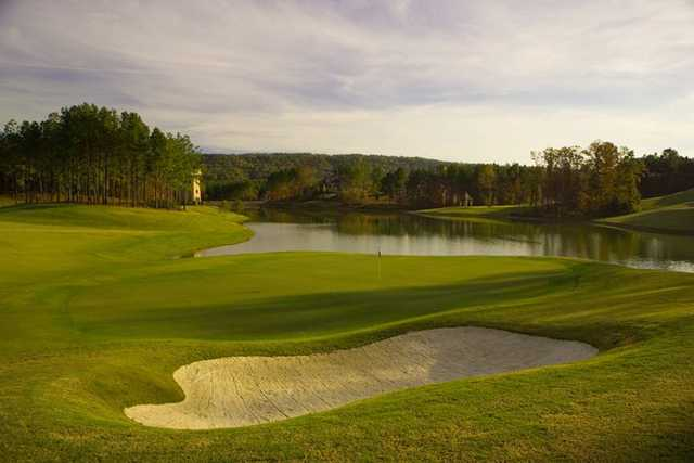 A view of hole #17 with water in background at Ballantrae Golf Club
