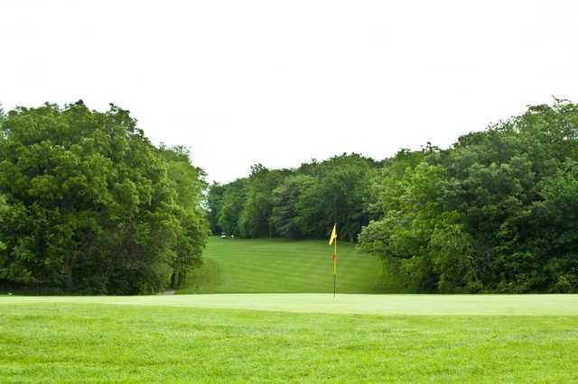 A view of a green at North from Woodland Hills Golf Course