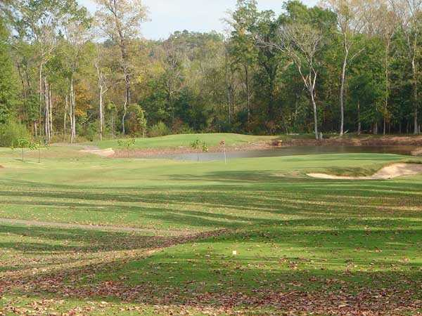 A view of the 2nd green protected by a pond and a bunker at Crooked Hollow Golf Club