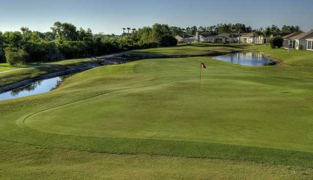 A view of a hole surrounded by water at Tampa Bay Golf & Country Club