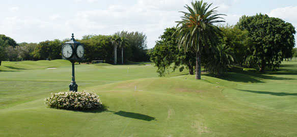 A view of a fairway at Riviera Country Club.