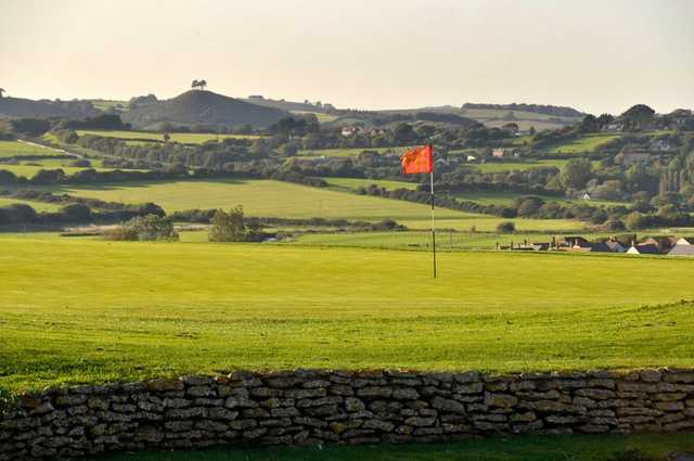 A view of a green at Bridport and West Dorset Golf Club.