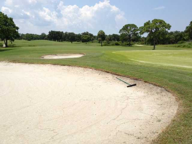 A view over one of the 10th green bunkers at South from Bay Palms Golf Complex