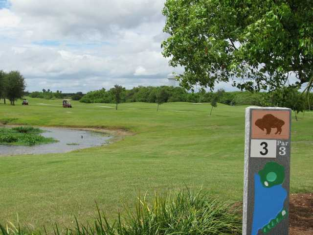 A view from the 3rd tee sign at Buffalo Creek Golf Course
