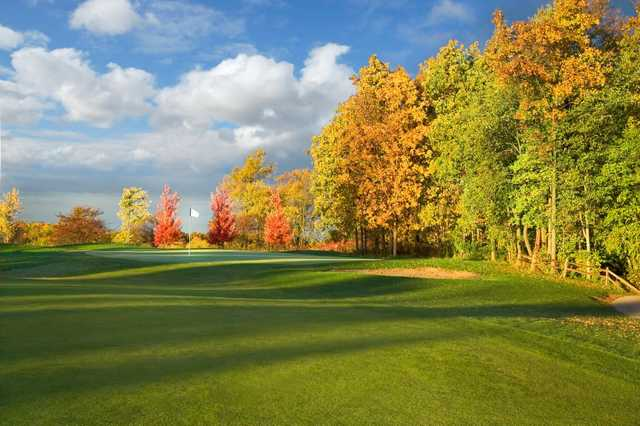 Autumn view of the 12th hole at PrairieView Golf Club