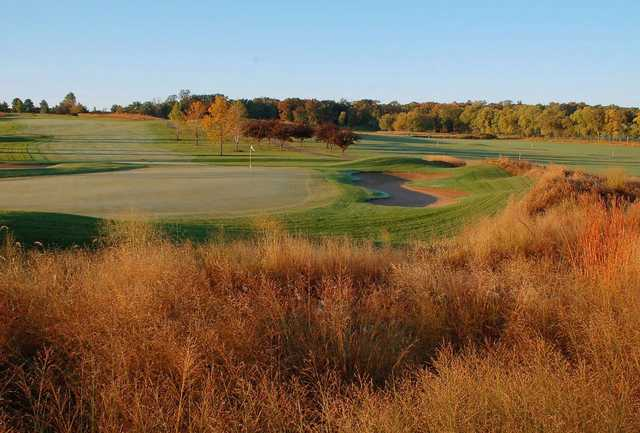 View of the finishing hole at PrairieView Golf Club