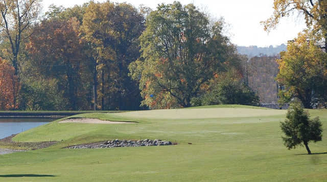 A fall view of a hole with water coming into play at Highland Lake Golf Course (City of Richmond)