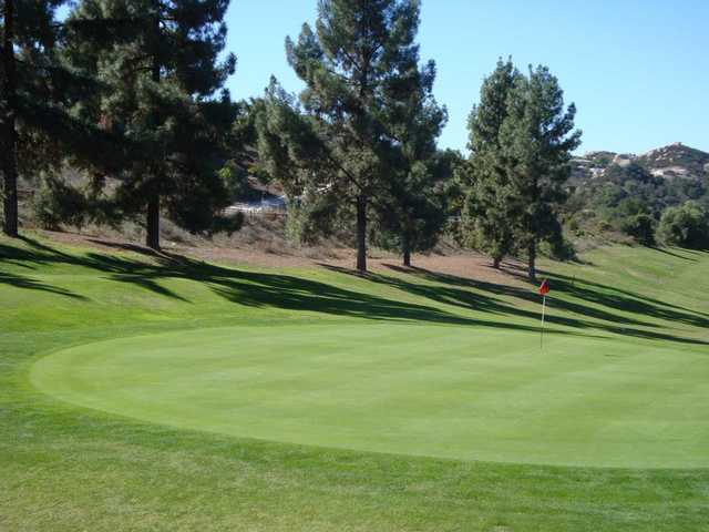A view of the 13th green at Boulder Oaks Golf Club