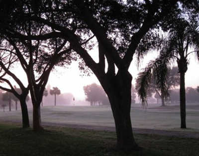 A foggy view from Riverbend Golf Club
