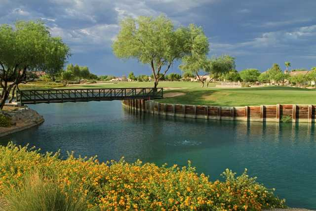 A view over the water of fairway #15 at South Course from Granite Falls Golf Club (Grand Golf)