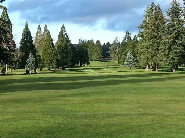 A view of a fairway at Oak Knoll Golf Course