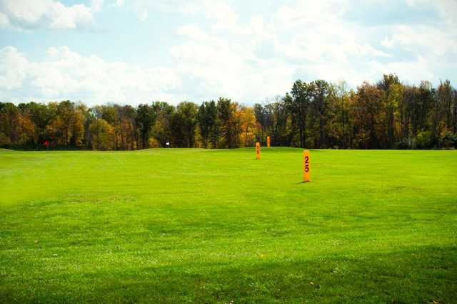 A view of the driving range at Deer Track Golf Course