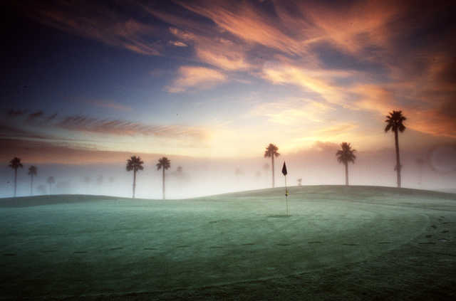 A misty morning view of the 17th hole at Palm from Sunol Valley Golf Course