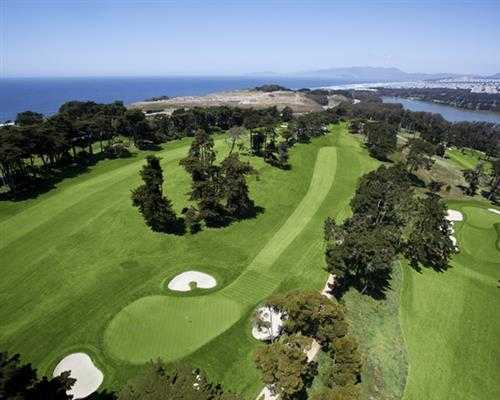 Aerial view of a hole at Olympic Club
