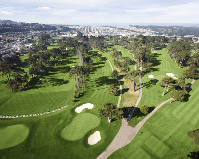 Aerial view of hole #18 at Lake Merced Golf & Country Club