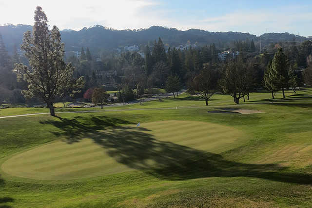 A sunny day view of a green at Rossmoor Golf Club
