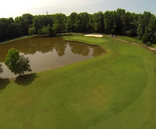 Aerial view of hole #8 from 120 yards out at Charles T. Myers Golf Course
