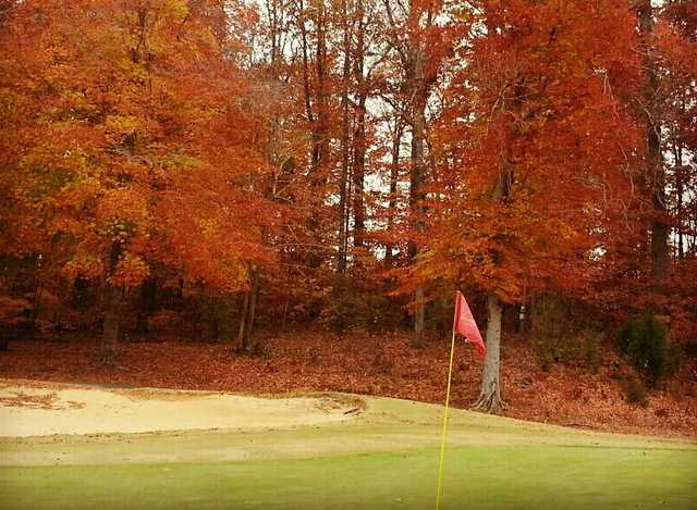 A fall view from green #13 at Harry L. Jones Sr. Golf Course