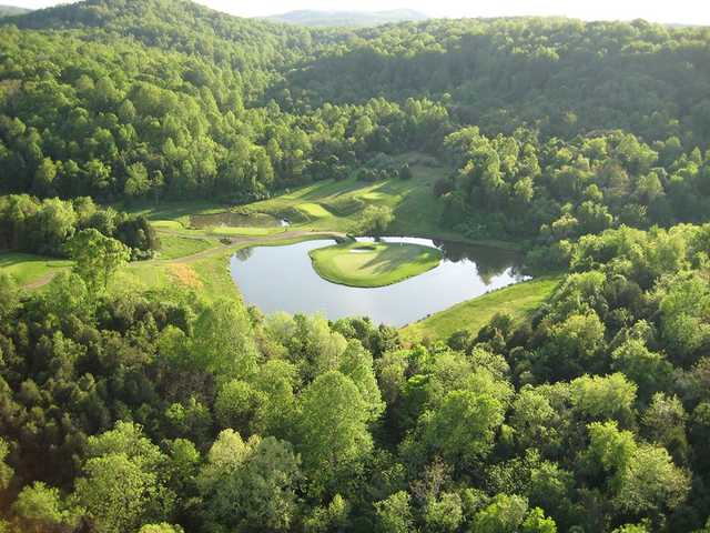 Aerial view of the island green at Birdwood Golf Course