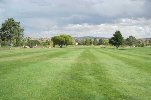 A view of fairway #1 at Scott Park Golf Links
