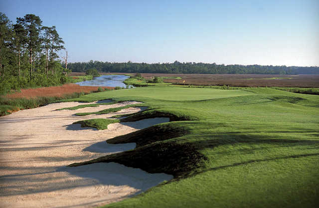 A view of hole #8 at Rivers Edge Golf Club