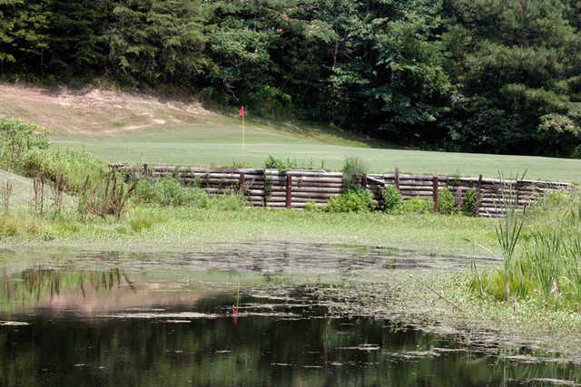 A view over the water from Red at Mountain View Golf Course
