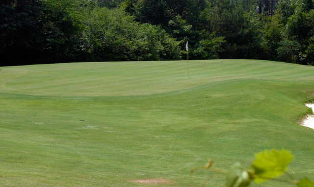 A view of a green protected by a bunker at White from Mountain View Golf Course