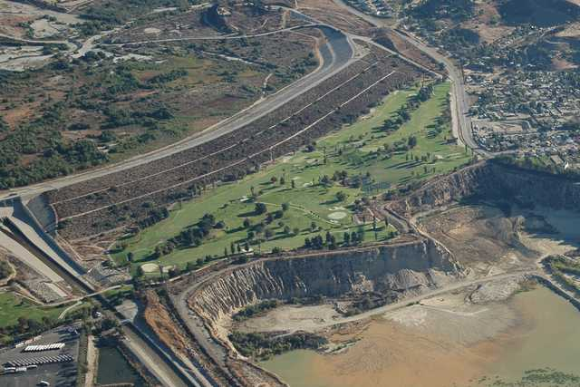 Aerial view of Hansen Dam Golf Course (Western San Gabriel Mountains Page)