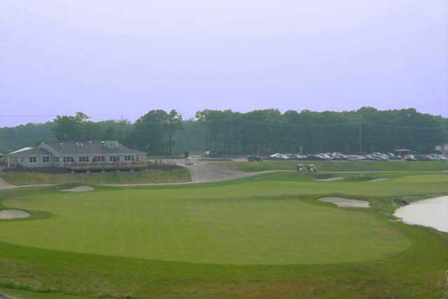 A view of a fairway and a green at McCullough's Emerald Golf Links