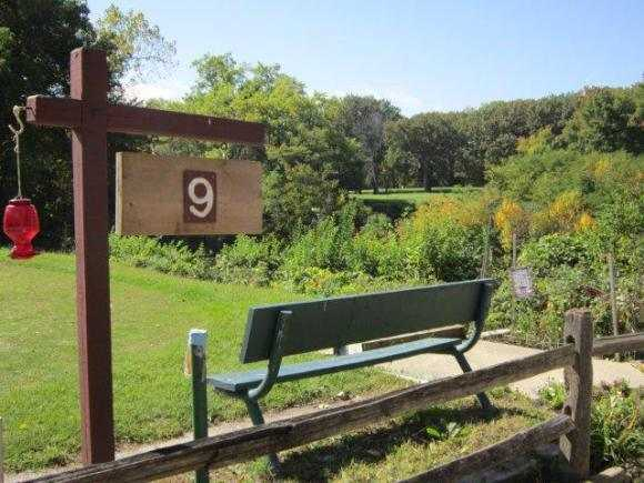 A view of the 9th tee sign at Canal Shores Golf Course