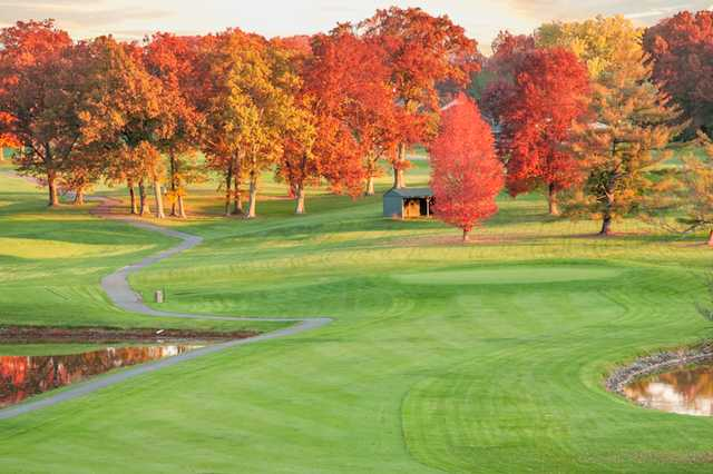A view of a green protected by fall coloured trees at A. J. Jolly Golf Course