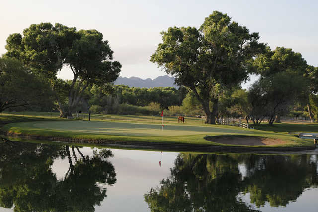 The ninth hole on Tubac Golf Resort and Spa's Anza nine features an island green.