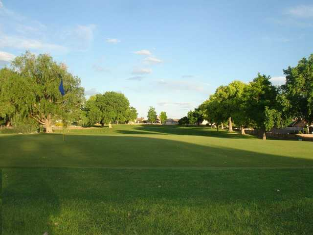 A view of the 15th green and fairway at Tierra Del Sol Golf Course