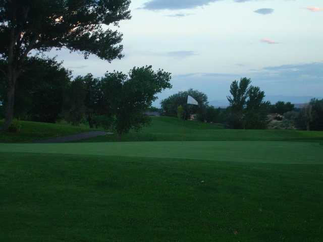 A view of a green with a narrow path on the left side at Tierra Del Sol Golf Course