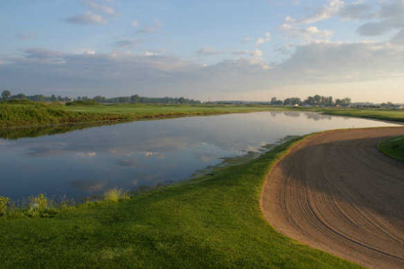 A view over the water from Hawk Meadows at Dama Farms Golf Club