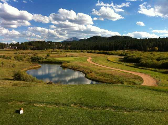 A view of hole #17 at Shining Mountain Golf Club.